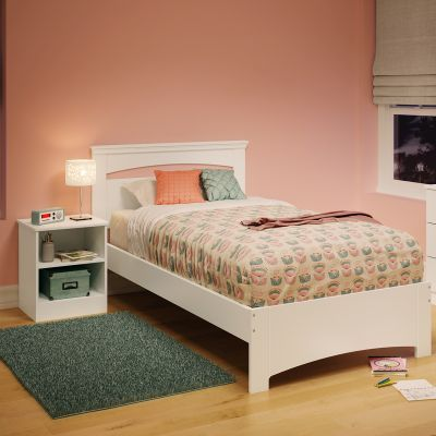 Libra Twin Bed Set with Nightstand Pure White - 10053