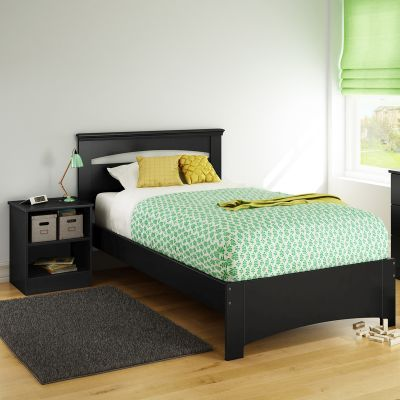 Libra Twin Bed Set with Nightstand Pure Black - 10054
