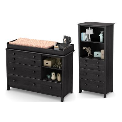 Little Smileys Changing Table and Drawers in Gray Oak - 10061