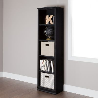 Morgan 5-Shelf Narrow Bookcase Black Oak - 10139