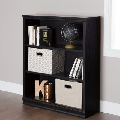 Morgan 3-Shelf Bookcase Black Oak - 10140