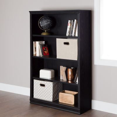 Morgan 4-Shelf Bookcase Black Oak - 10141