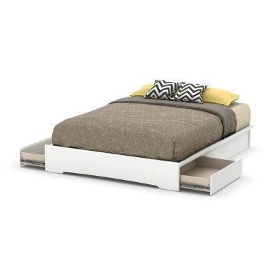 Basic Queen Platform Bed (60'') with 2 Drawers Pure White - 10158