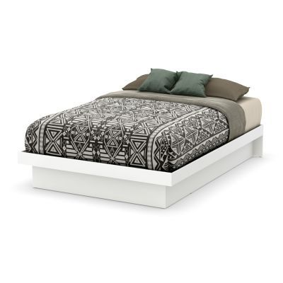 Basic Full-Size Platform Bed with Moldings in White - 10159