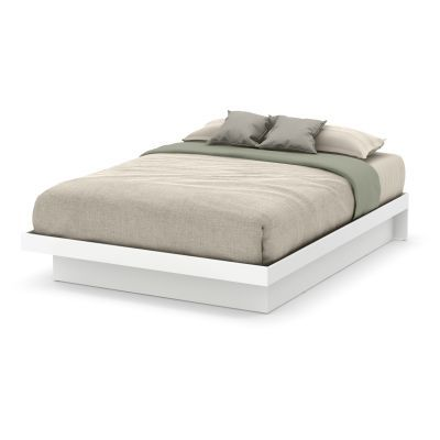 Basic Queen Platform Bed 60'') with Moldings Pure White - 10160