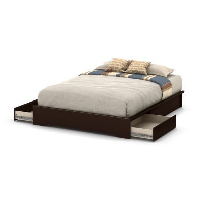 Basic Queen Platform Bed (60'') with 2 Drawers Chocolate - 10161