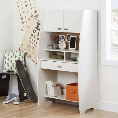 Reevo Desk with Hutch and Storage Pure White - 10196