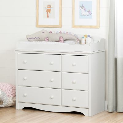 Angel Changing Table/Dresser with 6 Drawers Pure White - 10208