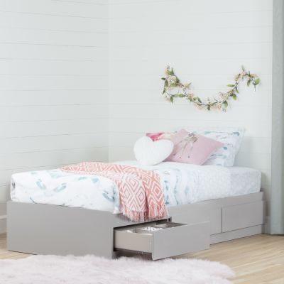 Vito Twin Mates Bed with 3 Drawers Soft Gray - 10236