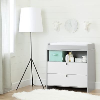 Cookie Changing Table/Dresser Soft Gray and Pure White - 10278