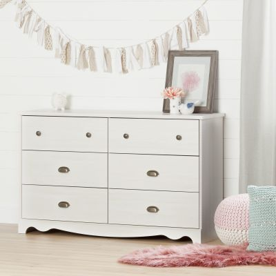 Caravell 6-Drawer Double Dresser White Wash - 10298