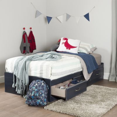 Ulysses Twin Mates Bed with 3 Drawers Blueberry - 10364