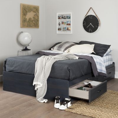 Ulysses Full Mates Bed (54'') with 3 Drawers Blueberry - 10366