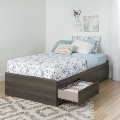 Savannah Twin Mates Bed with 3 Drawers Gray Maple - 10426