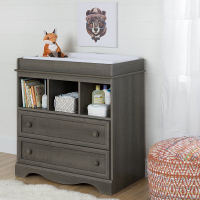 Savannah Changing Table with Drawers Gray Maple - 10429