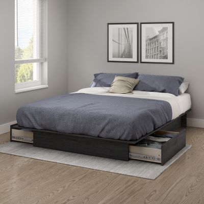 Step One Full/Queen Platform Bed with drawers in Gray - 10446