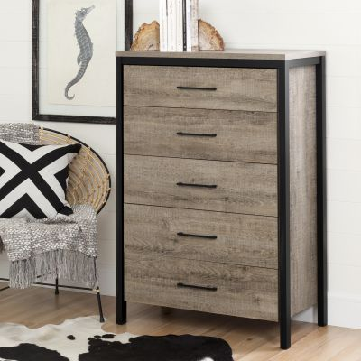 Munich 5-Drawer Chest Weathered Oak - 10492