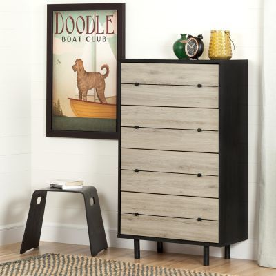 Morice Modern  4-Drawer Chest in Ebony and Rustic Oak - 10502