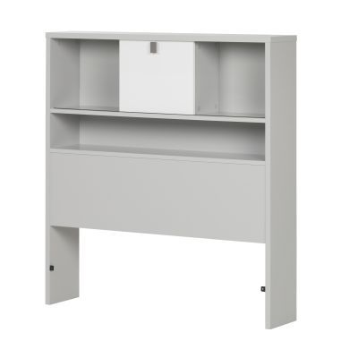 Cookie Twin Bookcase Headboard Soft Gray and White - 10512