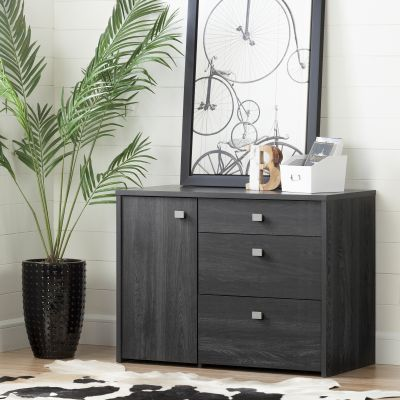 Interface Storage Unit with File Drawer Gray Oak - 10539