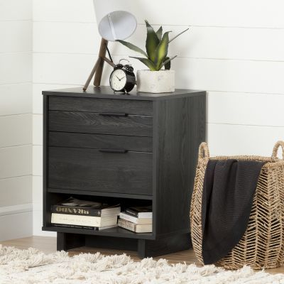 Fynn Nightstand with Drawers and Cord Catcher Gray Oak - 10553
