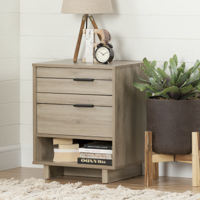 Fynn Nightstand with Drawers and Cord Catcher Rustic Oak - 10554