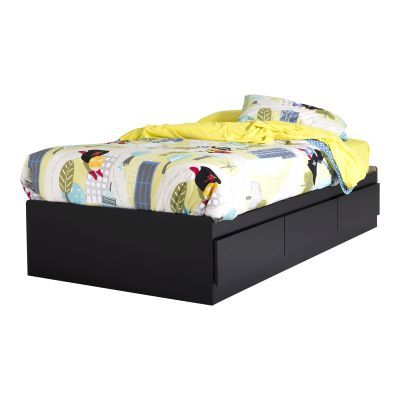 Twin Mates Bed with 3 Drawers Pure Black - 10575