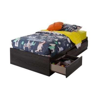 Twin Mates Bed with 3 Drawers Gray Oak - 10576