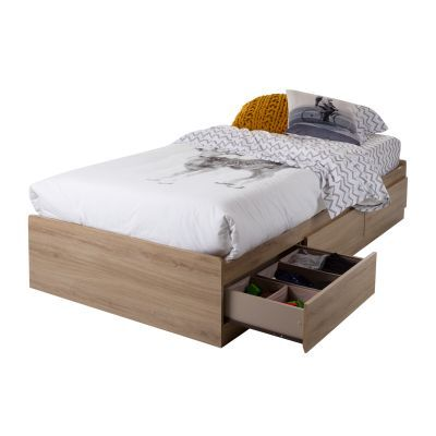 Twin Mates Bed with 3 Drawers Rustic Oak - 10591