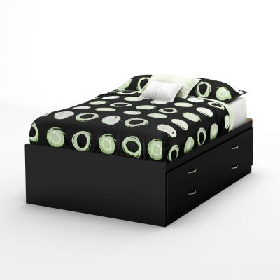 Step One Full Captain Bed (54'') with 4 Drawers Pure Black - 3107209