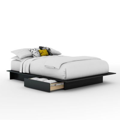 Step One Full/Queen Platform Bed with Drawers in Black - 3107217