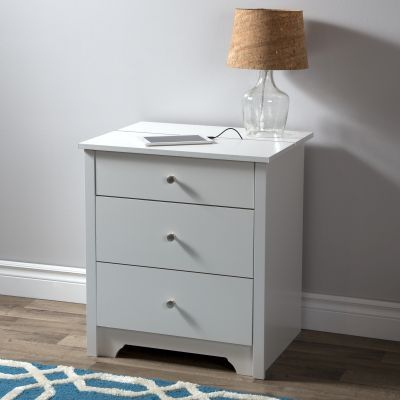 Vito Nightstand with Charging Station and Drawers White - 3150060