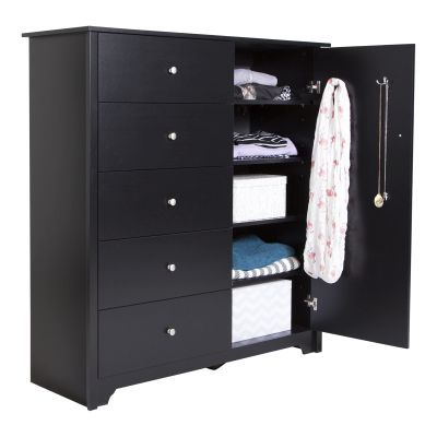 Vito Door Chest with 5 Drawers Pure Black - 3170045