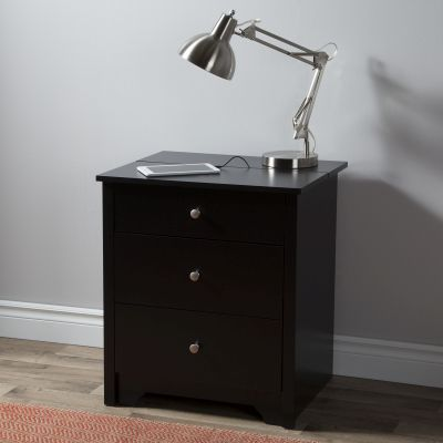 Vito Nightstand with Charging Station and Drawers in Black - 3170060