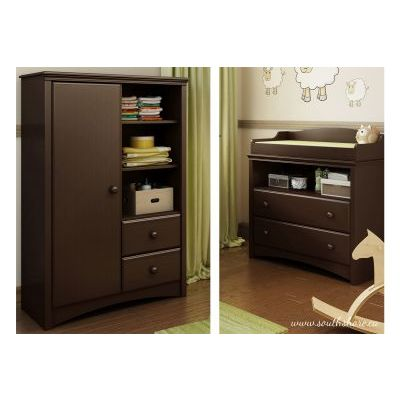 Angel Changing Table and Armoire with Drawers Espresso - 3559C2