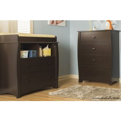 Beehive Changing Table and 4-Drawer Chest Espresso - 3619A2