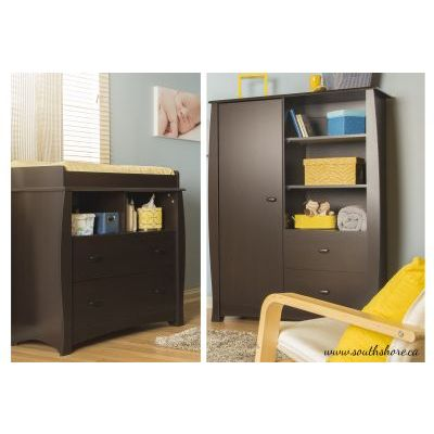 Beehive Changing Table and Armoire with Drawers Espresso - 3619B2