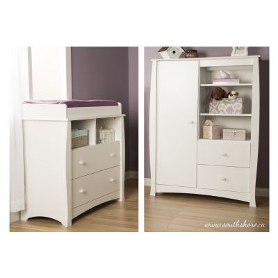 Beehive Changing Table and Armoire with Drawers Pure White - 3640B2