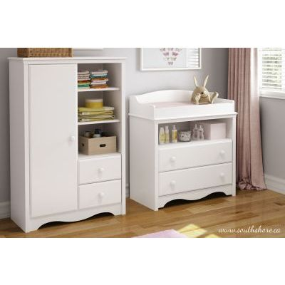 Angel Changing Table and Armoire with Drawers Pure White - 3680C2