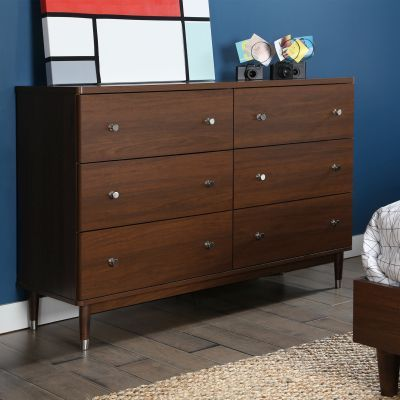 Olly Modern 6-Drawer Double Dresser in Brown Walnut - 3828027