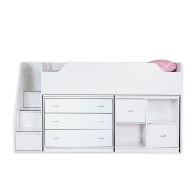 Mobby Twin Loft Bed with Chest and Storage Unit Pure White - 3880B3