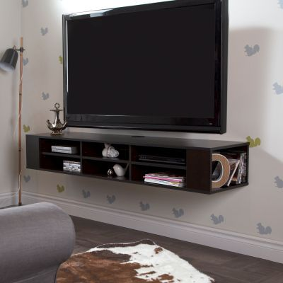 City Life 66'' Wide Wall Mounted Media Console Chocolate - 4419677