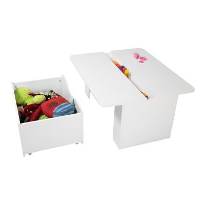Crea Kids Activity Table with Toy Box on Wheels Pure White - 5050052