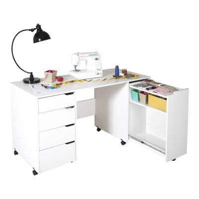 Crea Sewing Craft Table on Wheels Pure White - 7550728