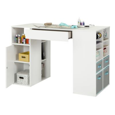 Crea Pure White Counter-Height Craft Table with Storage - 7550729