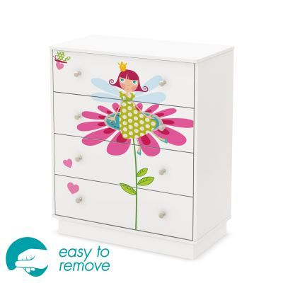 Joy Pure White 4-Drawer Chest with Fairy Decals - 8050007K