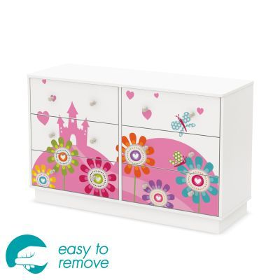Joy Pure White 6-Drawer Double Dresser with Flowers - 8050009K