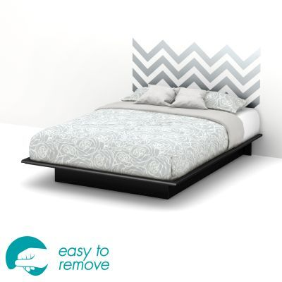 Step One Black Queen Platform Bed with Gray Headboard - 8050094K