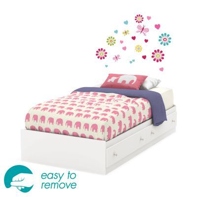 Joy Pure White Twin Bed with Drawers and Flowers Decals Set - 8050119K