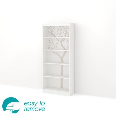 Axess 5-Shelf Bookcase with Romantic Tree Decals Pure White - 8050131K